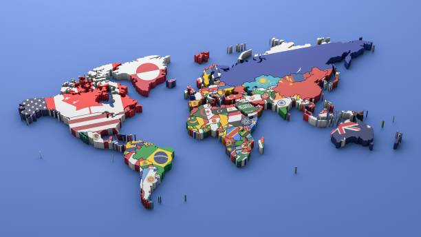World map with all states and their flags,3d render stock photo