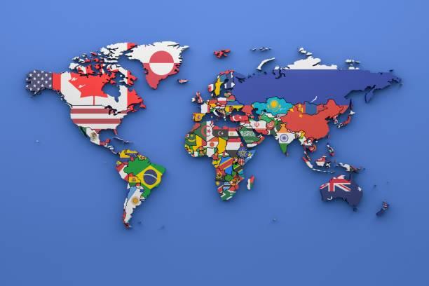 Weltkarte mit allen Staaten und ihre Flaggen, 3d render – Foto