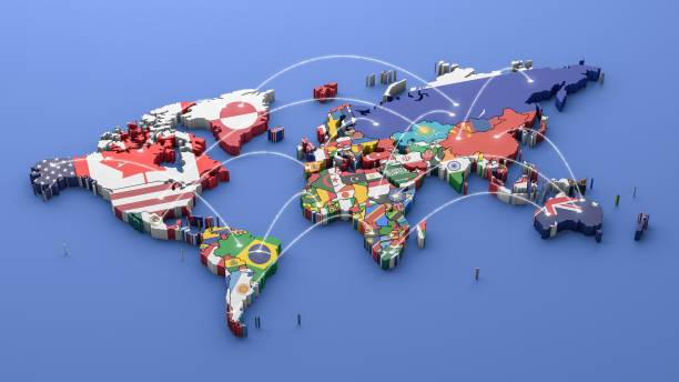 Mapa mundial con todos los Estados y sus banderas, render 3d - foto de stock