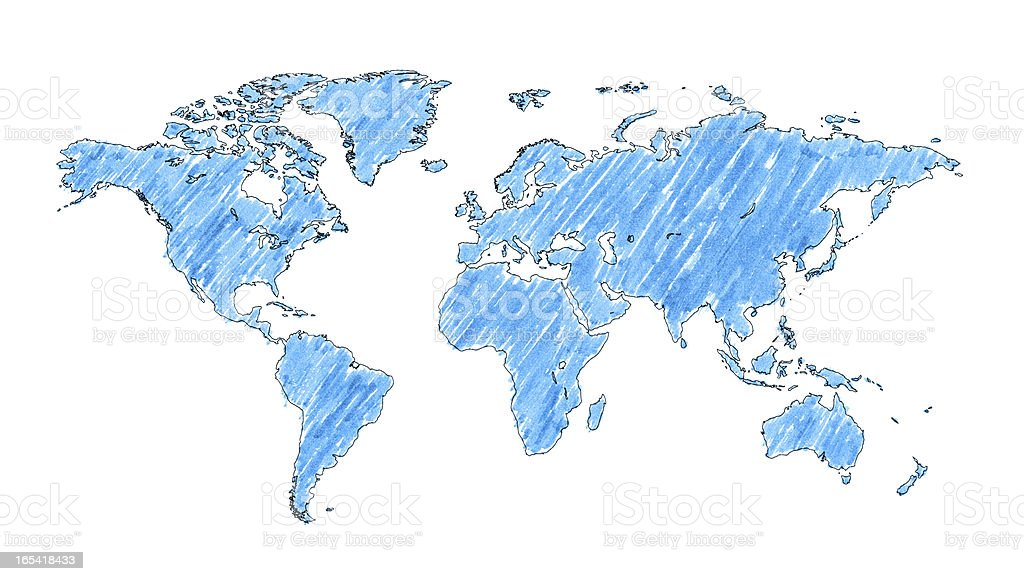 World map with brush stroke isolated on white background stock photo