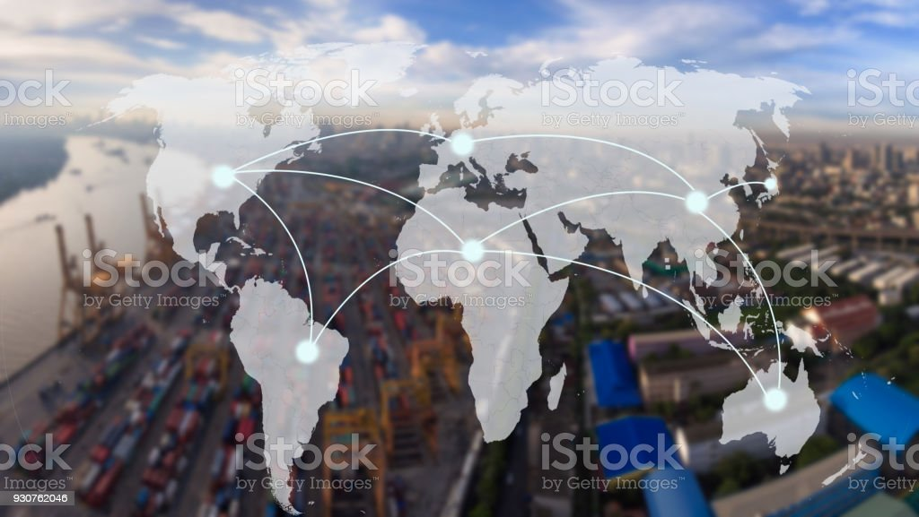 world map with connection line on  Industrial Container Cargo for Logistic Import Export at yard,world transportation concept stock photo