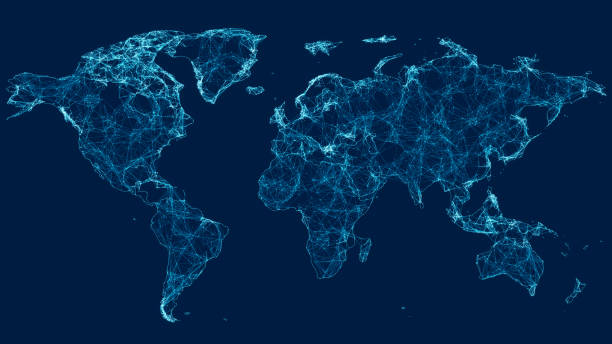 World Map With Connections stock photo