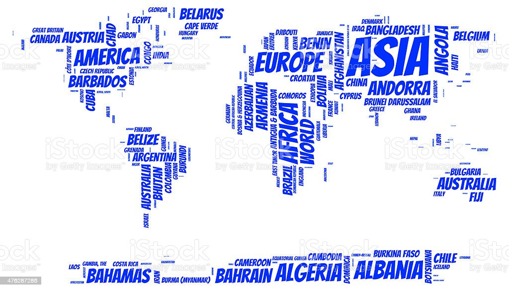 World Map With Country Names Stock Photo IStock - World map with country names