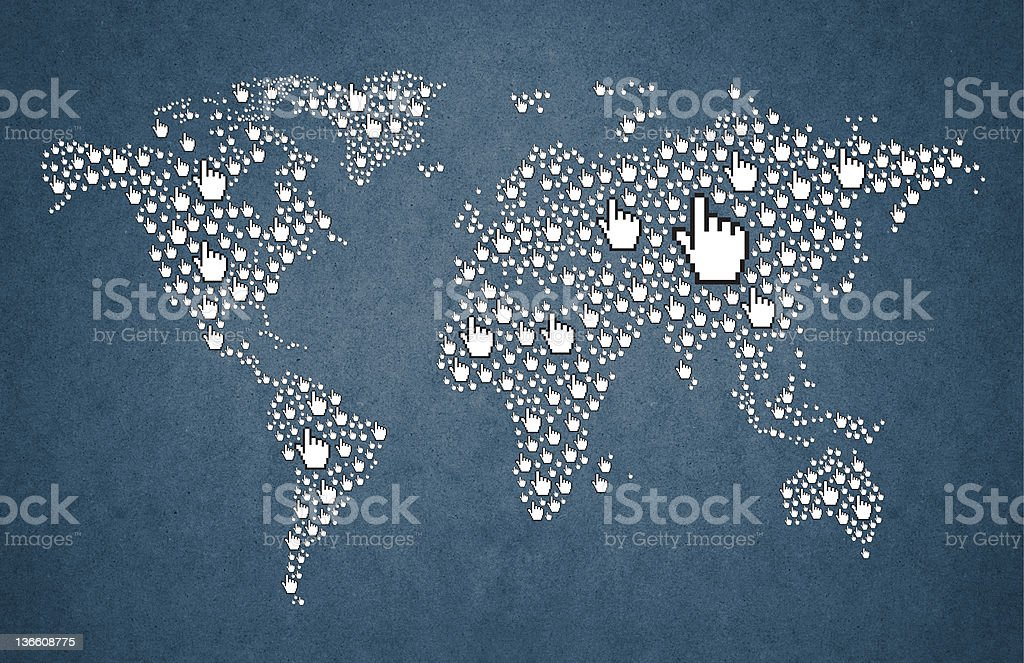 world map with cursor hand royalty-free stock photo