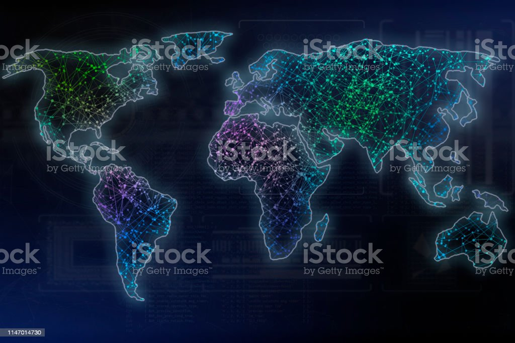 world map with dots and lines, worldwide digital communication web or...