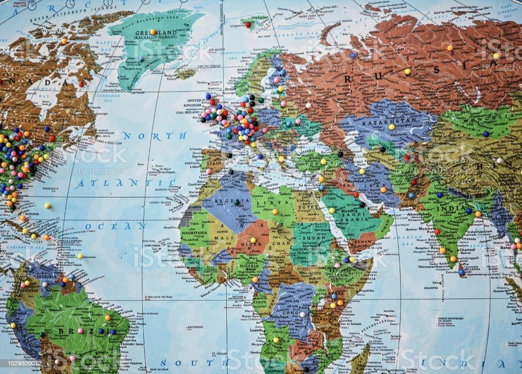 Photo Libre De Droit De Carte Du Monde Avec Des épingles