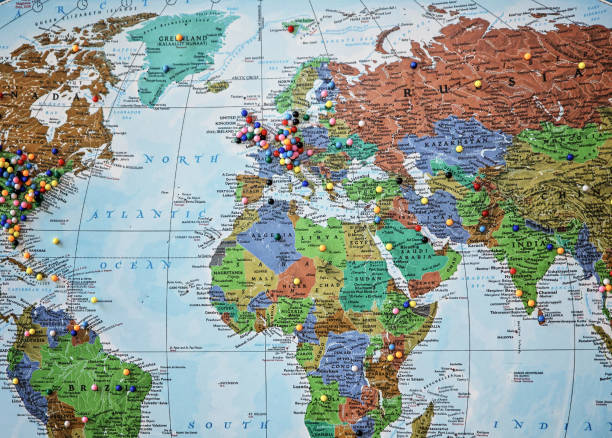 world map with pins stock photos