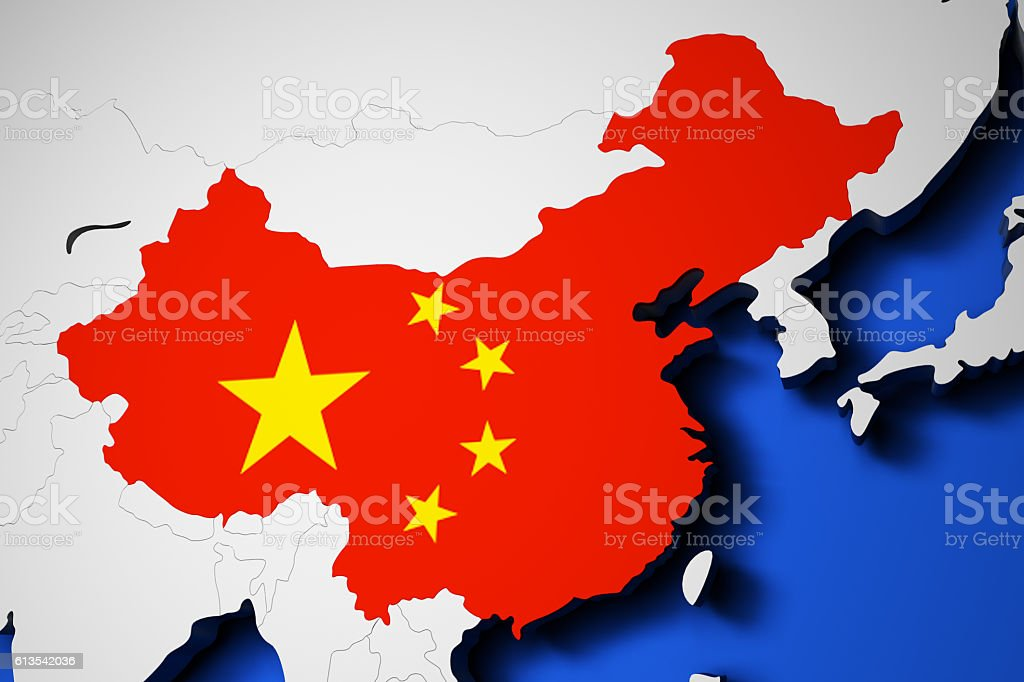 World Map With Flag Of China 3d Render Stockfoto und mehr ...