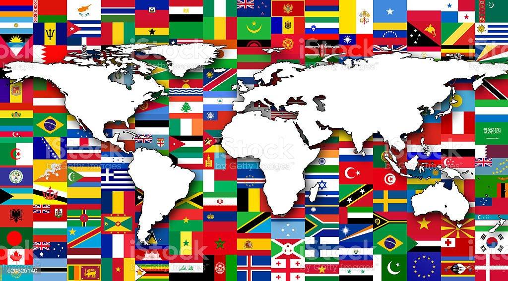 Mapa mundial con banderas - foto de stock