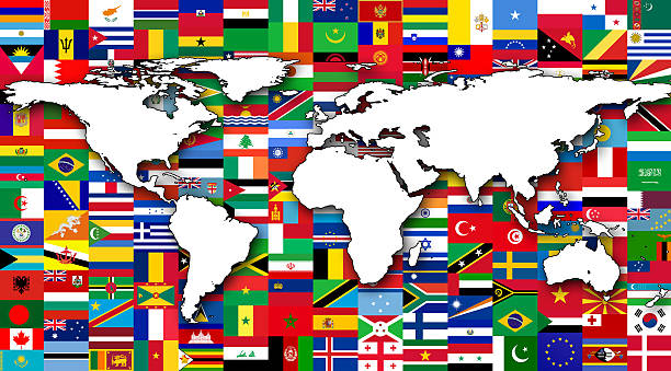 World map with flags World map in background of World flags national flag stock pictures, royalty-free photos & images
