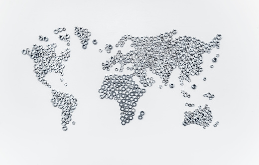 iron world concept, hex nuts on white background in form of a world map