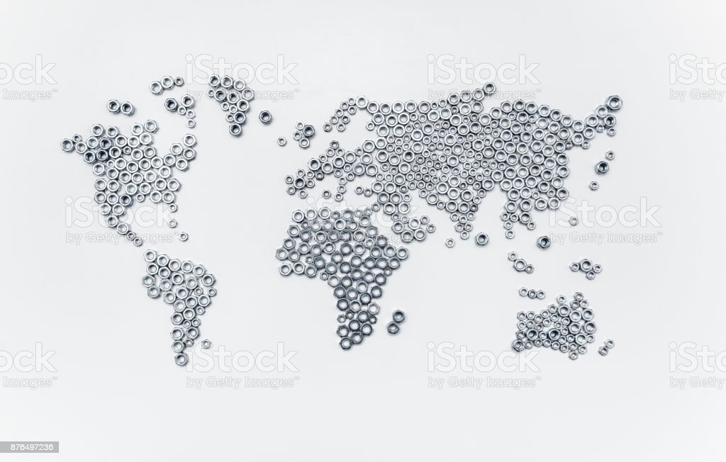 world map with hex nuts stock photo
