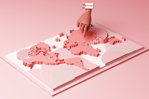 istock World map with human's hand and bomb concept abstract composition of geometric shapes platforms in pastel pink tone. 3d rendering 1178172910