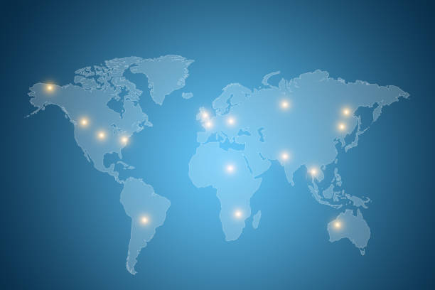world map with lights on different countries with blue background - continent geographic area stock photos and pictures