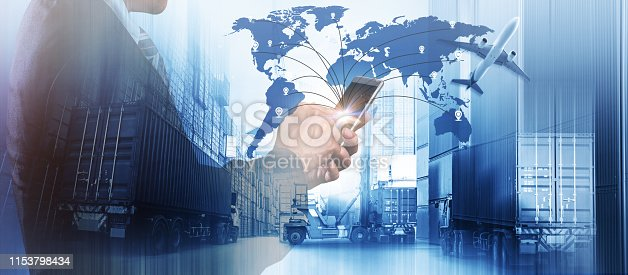 istock World map with logistic network distribution, Logistic and transport concept in front Industrial Container Cargo freight ship for Concept of fast or instant shipping, Online goods orders worldwide 1153798434