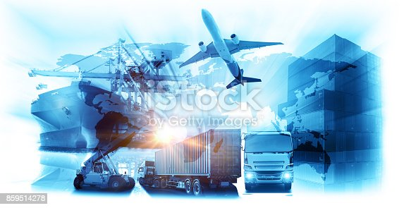 istock World map with logistic network distribution on background. Logistic and transport concept 859514278