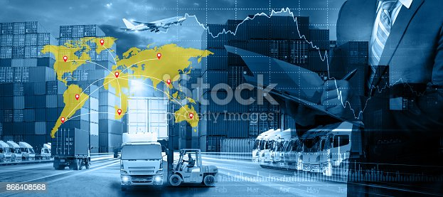 istock World map with logistic network distribution on background. Logistic and transport concept in front Logistics Industrial Container Cargo freight ship 866408568
