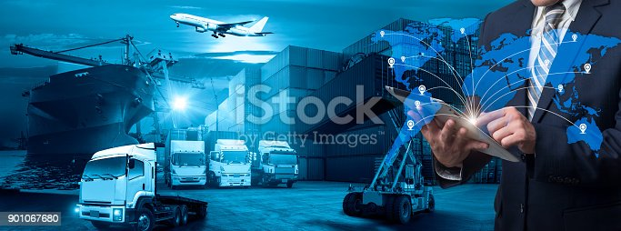 istock World map with logistic network distribution on background. Logistic and transport concept in front Logistics Industrial Container Cargo freight ship for Concept of fast or instant shipping, Online goods orders worldwide 901067680