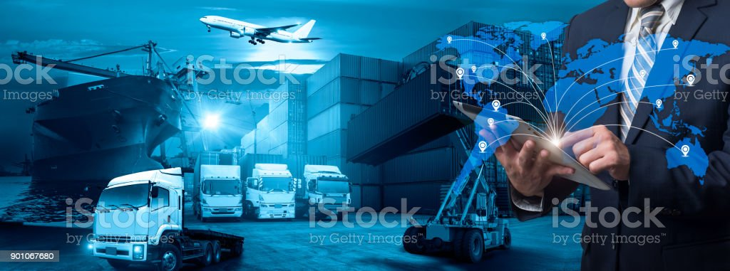 World map with logistic network distribution on background. Logistic and transport concept in front Logistics Industrial Container Cargo freight ship for Concept of fast or instant shipping, Online goods orders worldwide stock photo