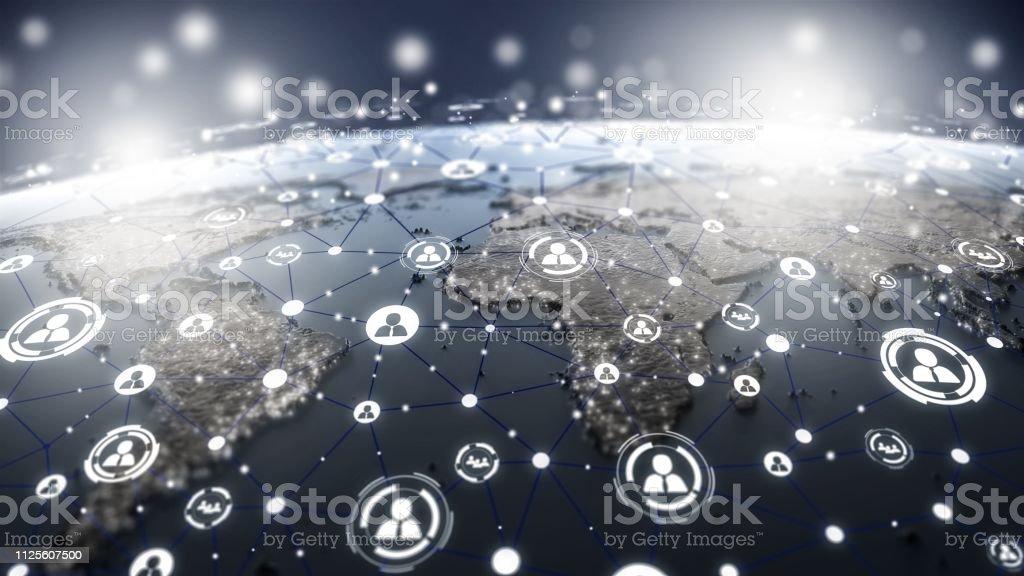 Weltkarte mit social-Media-Netzwerk-Symbole-Struktur – Foto