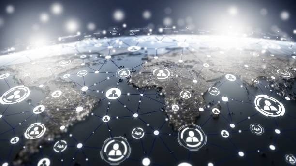 mapa mundial con la estructura de los iconos de la red de medios de comunicación social - foto de stock