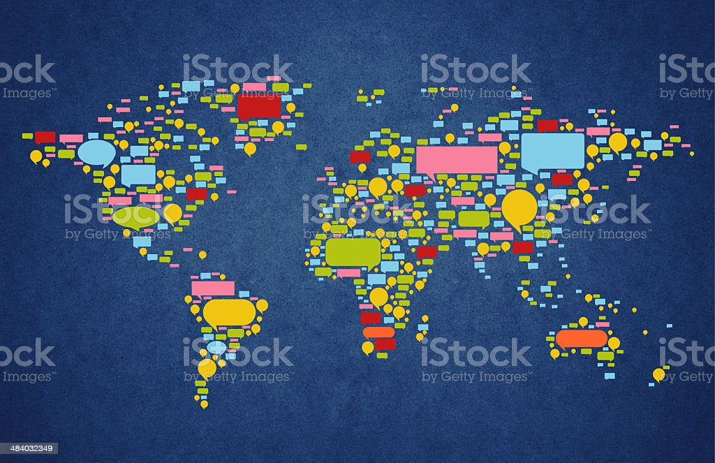 World map with speech bubble stock photo