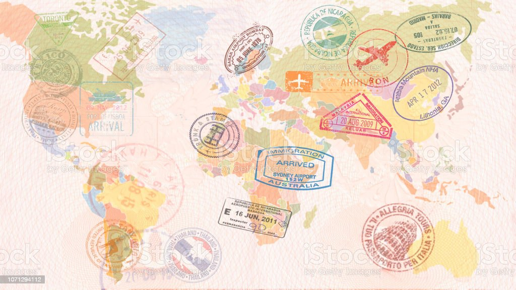 World map with Visas, Stamps, Seals. Travel concept - Foto stock royalty-free di Aereo di linea