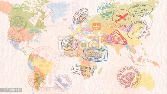 World map with Visas, Stamps, Seals. Travel concept.