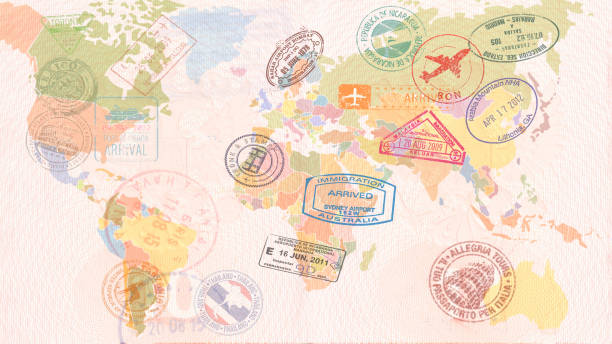 world map with visas, stamps, seals. travel concept - comunicazione globale foto e immagini stock