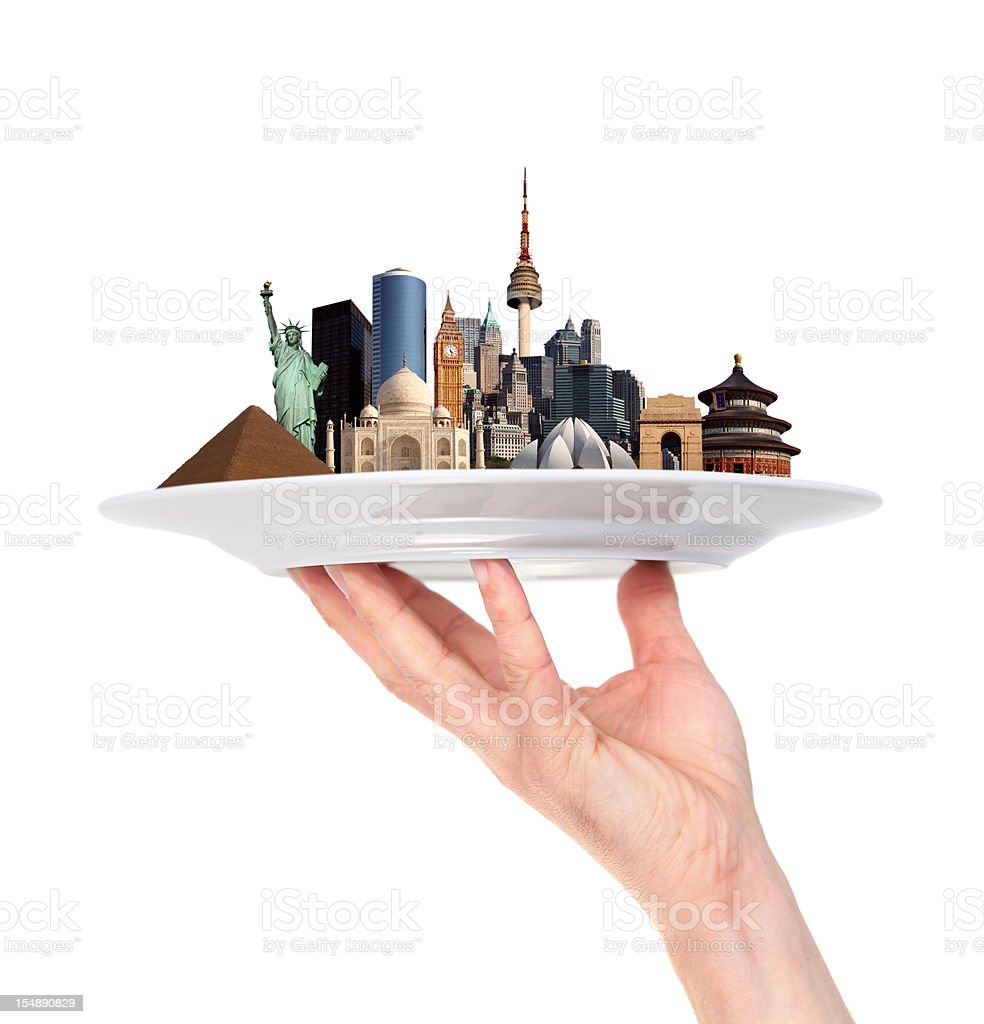 World Monuments in One Hand stock photo
