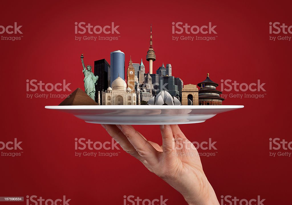 World Monuments in One Hand royalty-free stock photo