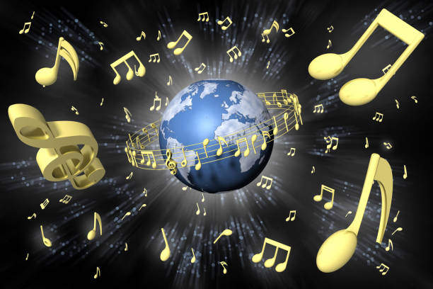 world music universe background- 3d illustration - pięciolinia zdjęcia i obrazy z banku zdjęć