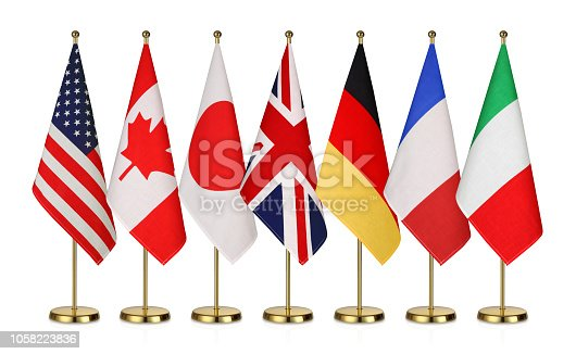 G7 flags Isolated on white background , countries of members Group of Seven Canada Germany Italy France Japan United States United Kingdom