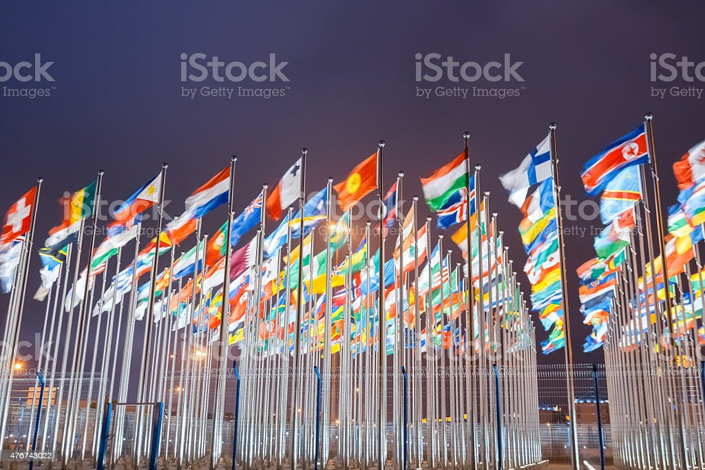 world national flags stock photo
