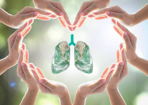 world no tobacco day campaign, lung in heart-shaped hand protection health care design logo concept. element of this image furnished by nasa - environmental consciousness stock pictures, royalty-free photos & images