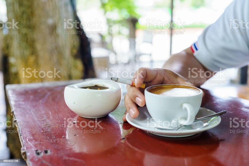 World No Tobacco Day. coffee and cigarette with ashtray on woodtable....