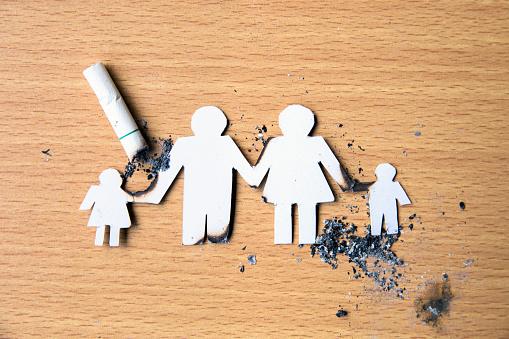 Mundo Ningún Día Del Tabaco Cortar El Papel De Miembros De La Familia De La Mano Destruido Por Cigarrillos Foto de stock y más banco de imágenes de Adicción