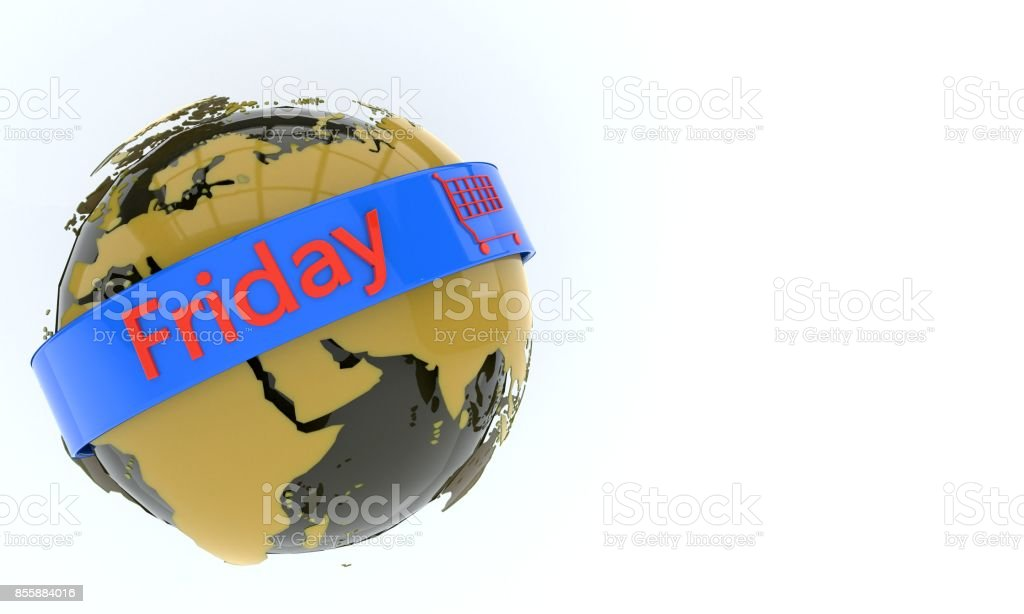 World object and friday symbol, 3d stock photo