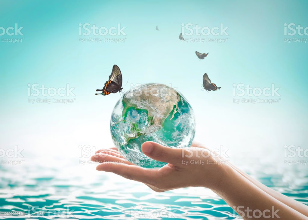 World ocean day,, saving water campaign, sustainable ecological ecosystems concept with green earth on woman's hands on blue sea background : Element of this image furnished by NASA stock photo