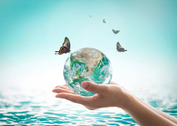 world ocean day,, saving water campaign, sustainable ecological ecosystems concept with green earth on woman's hands on blue sea background : element of this image furnished by nasa - water day stock photos and pictures