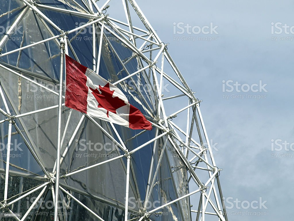 World of science dome and Canadian flag royalty-free stock photo