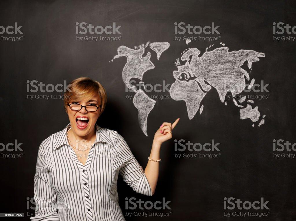 World on a Blackboard royalty-free stock photo