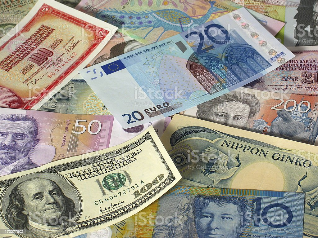 World paper currencies royalty-free stock photo