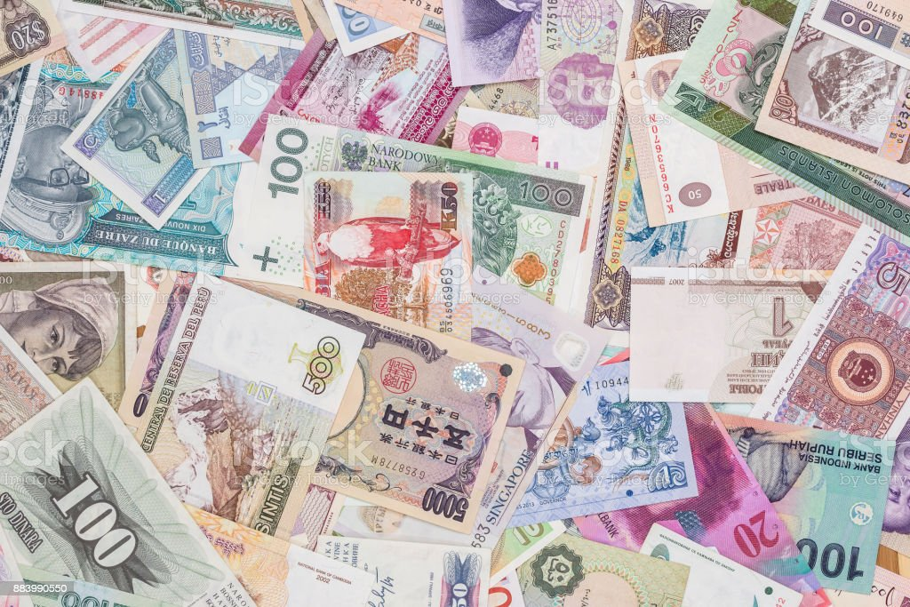 world paper money as background. close up stock photo