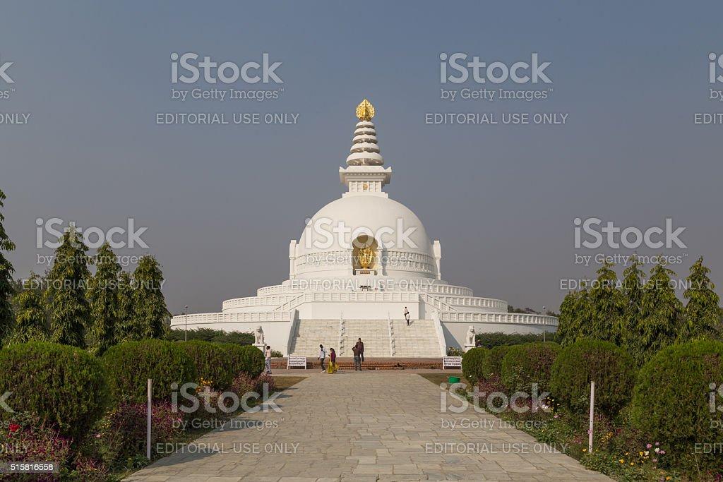 World Peace Pagoda in Lumbini, Nepal stock photo