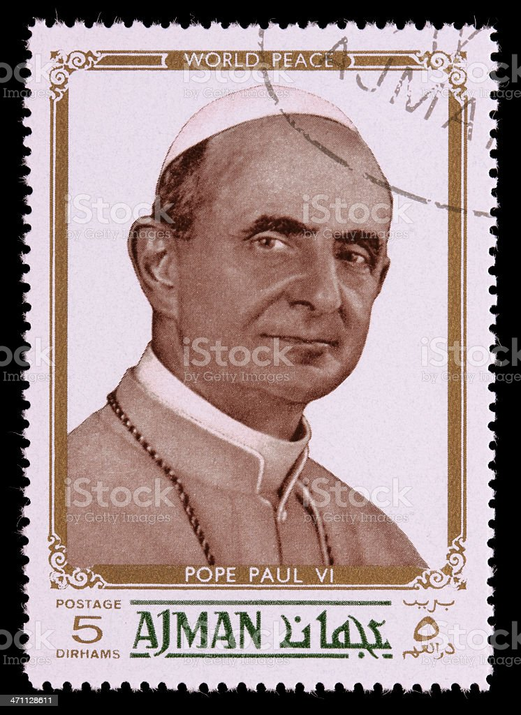 World peace Pope Paul VI postage stamp royalty-free stock photo