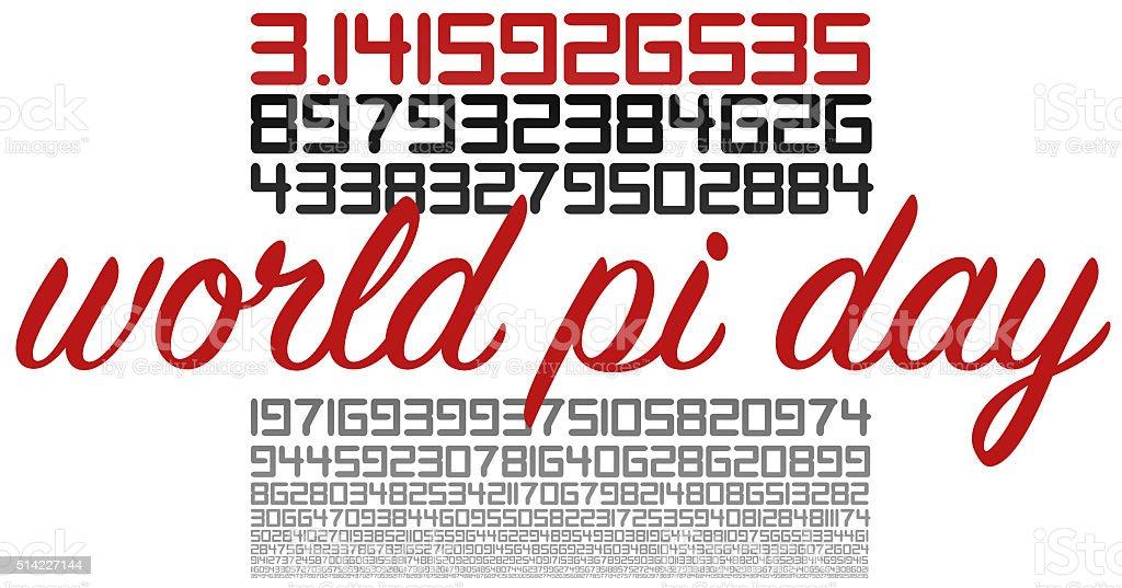 World PI day celebration sign on white stock photo