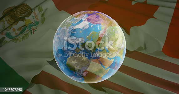 istock world planet earth globe and flag of USA Canada Mexico 3d-illustration. elements of this image furnished by NASA 1047707240