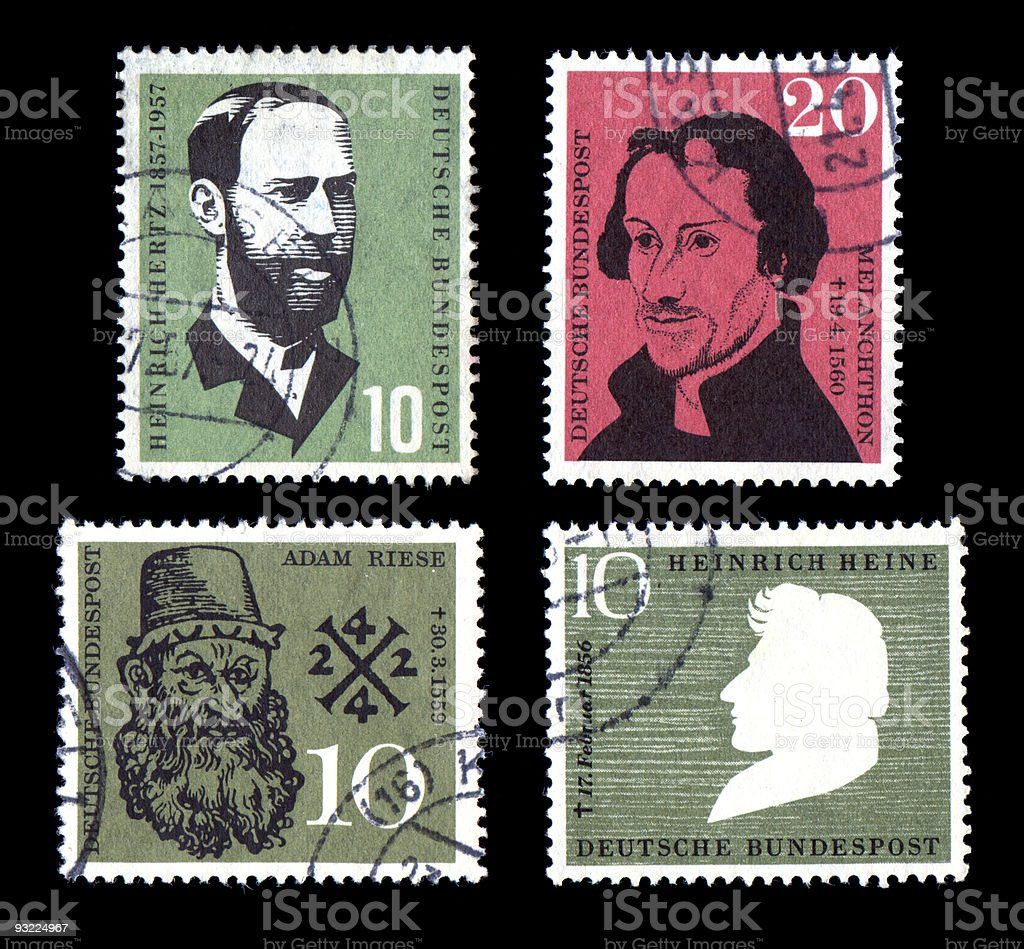 World Postage Stamps Historic Fame stock photo
