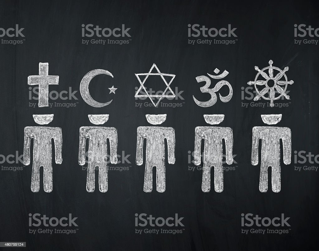 blackboard concept, signs of world religions - major religions group...